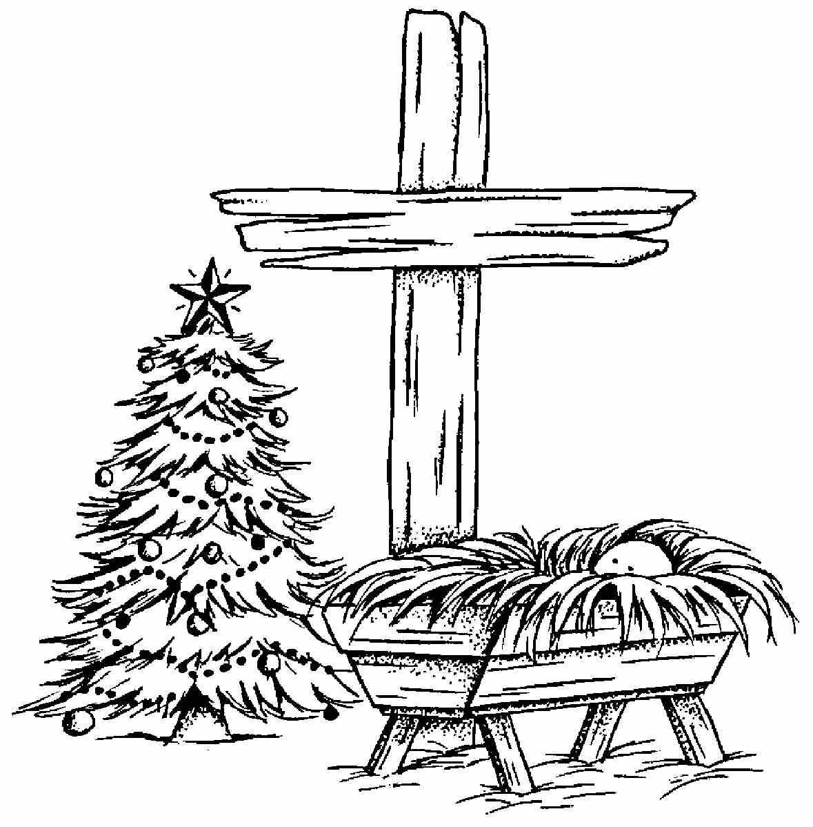 Free coloring pages baby jesus in a manger